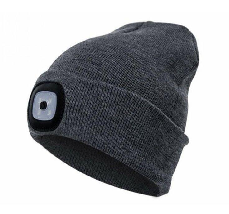 Čepice s čelovkou 45lm šedá blister