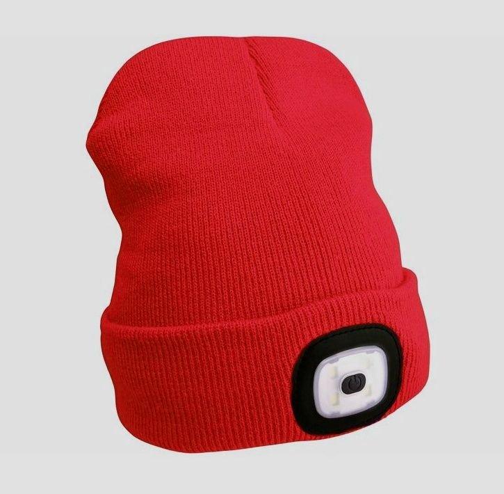 Čepice s čelovkou 1W červená