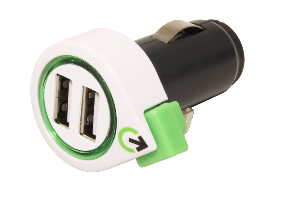 q2power Napájecí adaptér do auta (12-24V), 2x USB, 3,1A + svinovací kabel s lightning kone