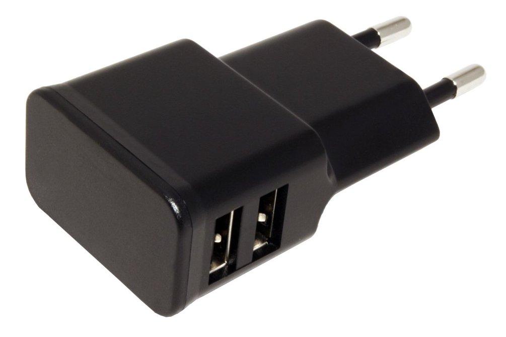 Napájecí adaptér síťový (230V) - 2x USB, 2,4A, plochý, černý, max 12W