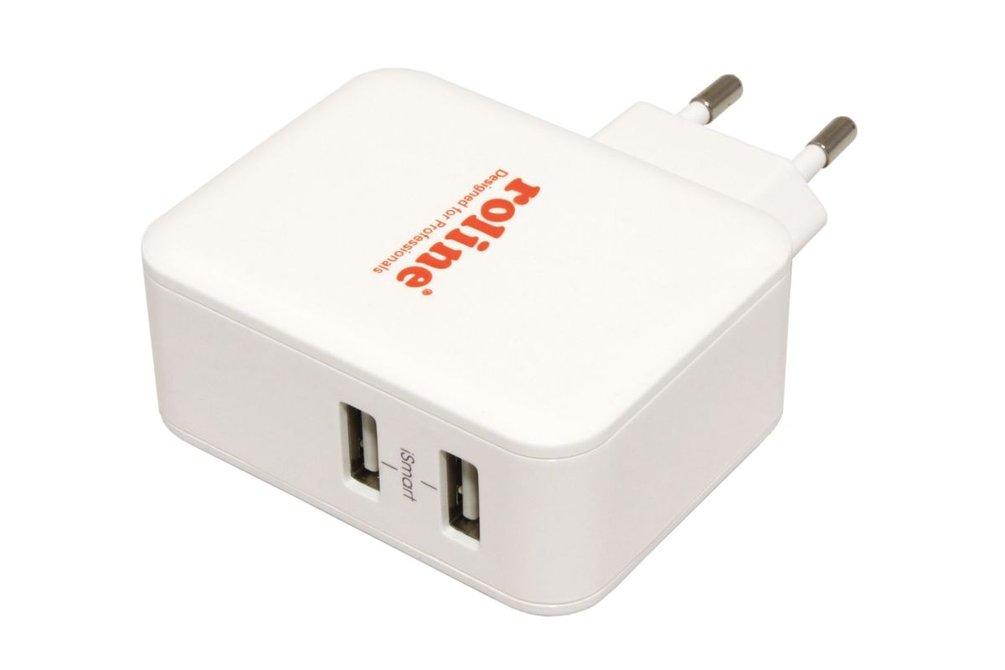 Roline Napájecí adaptér síťový (230V) - 2x USB s iSmart, 5V, 24W