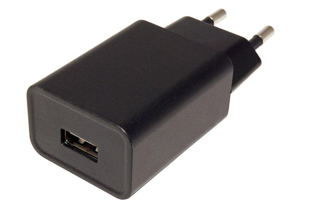 Napájecí adaptér síťový (230V) - 1x USB, 2,4A, plochý, černý